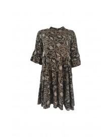 Black Colour LUNA Short Boho Dress 3841