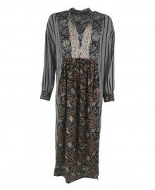 Black Colour LUNA Kaftan Dress 3711 Black Stripe