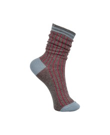 Black Colour Candy Stripe Sock Lt Blue 4212LB