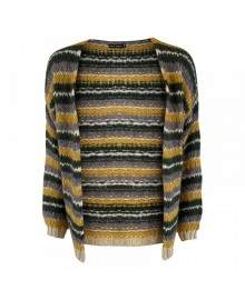 Black Colour GAIL Lurex Striped Cardigan 1009 Mustard