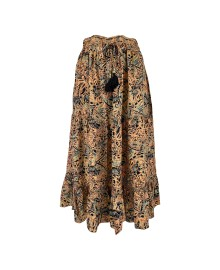 Black Colour LUNA Boho Mid Skirt - Nederdel 3718