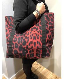 Black Colour ALLY shopper bag leo red 9148LR
