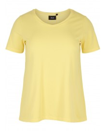 Zizzi T-shirt, Short Sleeve N00002A Yellow Cream