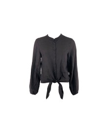 Black Colour LEA ls linen shirt black 9892BL