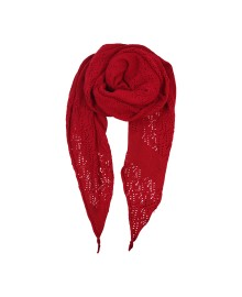 Black Colour PERL KNIT scarf red 198018RE