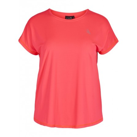 Zizzi ABasic One S/S t-shirt A00053A Neon Pink