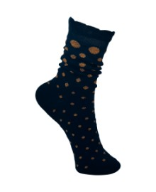 Black Colour Ruffle dot sock navy/camel 4132NA