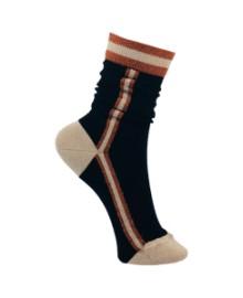 Black Colour Sporty stripe sock cognacblack 4149CO