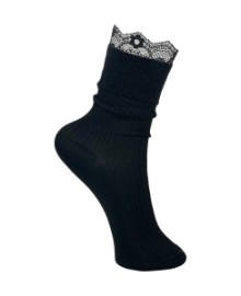 Black Colour Lace rib sock black 4173