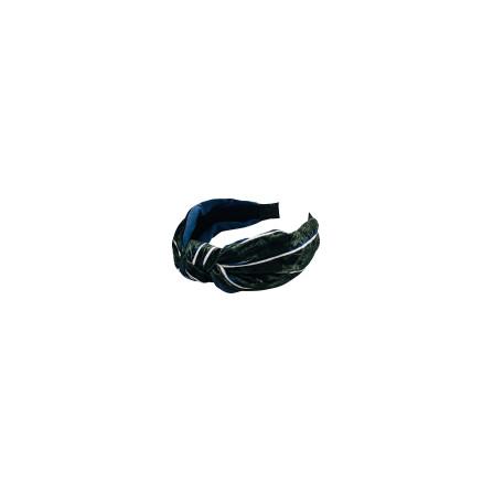 Black Colour Velvet headband army stripe 9928AS