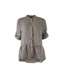 Black Colour LINDY Linen Peplum Shirt 3767